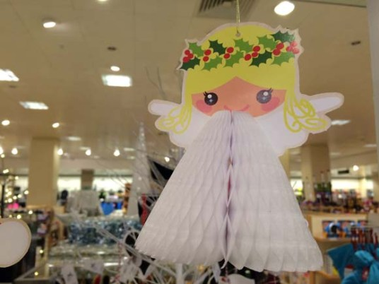 John Lewis at Christmas Paper Joy Angel Honeycomb Tree Decoration
