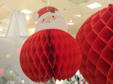 John Lewis at Christmas Paper Joy Smiling Santa Honeycomb Tree Decoration