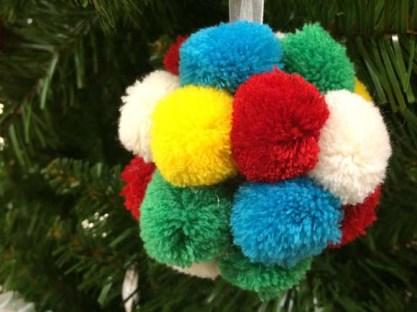 John Lewis at Christmas Pom Pom Bauble, Multi