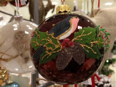 John Lewis at Christmas Robin on Holly Glass Bauble, Red:Multi