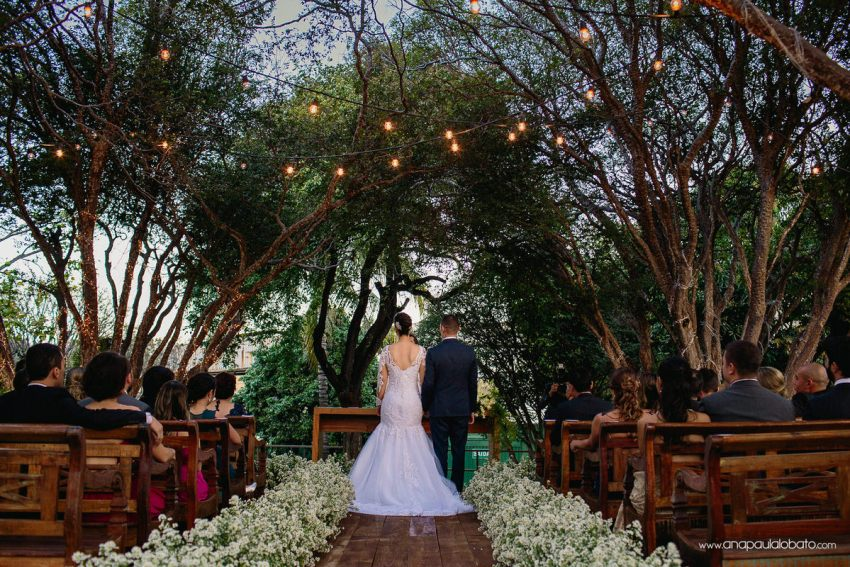 wedding ceremony with beautiful lighting in the altar