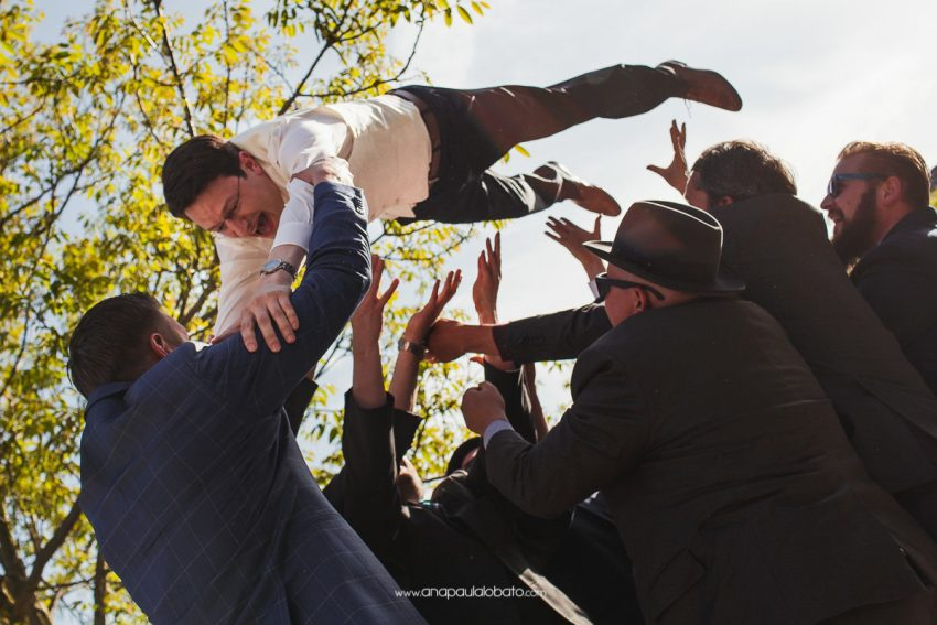 groom having fun with friends