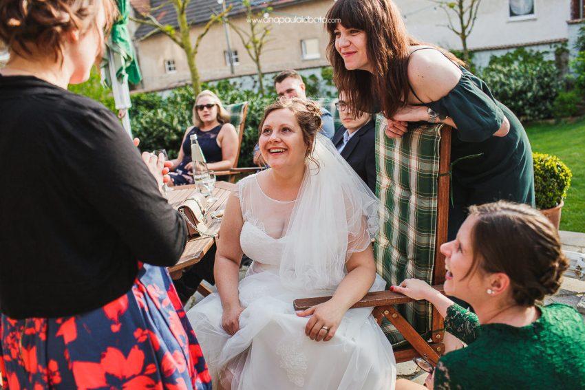 bride having fun with bridesmaids