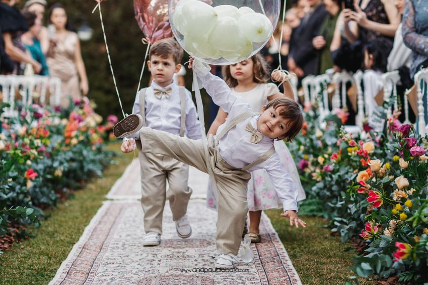 funny kids in Gorgeous sunset wedding in Brazil