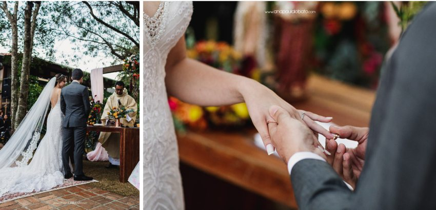 change rings in Gorgeous sunset wedding in Brazil