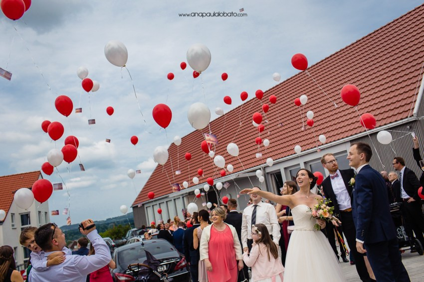 german tradition with ballons in wedding