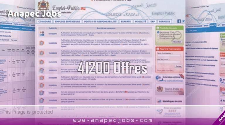 Plus de 41200 Offres d'Emploi Diffusées recruitment maroc emploi public