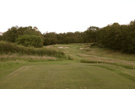 The view from the 11th tee - showing seven of the eight bunkers which guard the green.