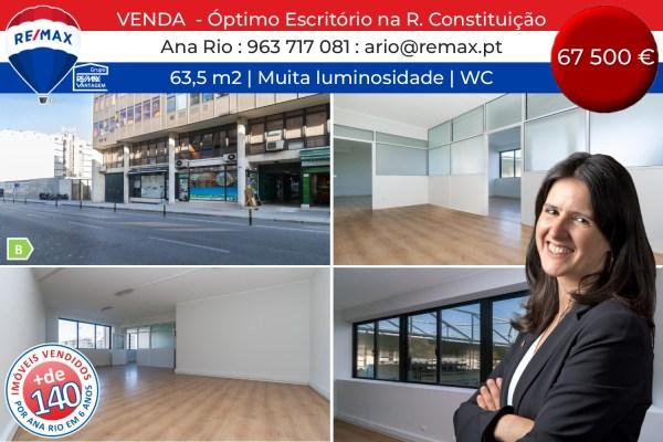 VENDA - Óptimo Escritório com 63,5 m2 na Rua da Constituição