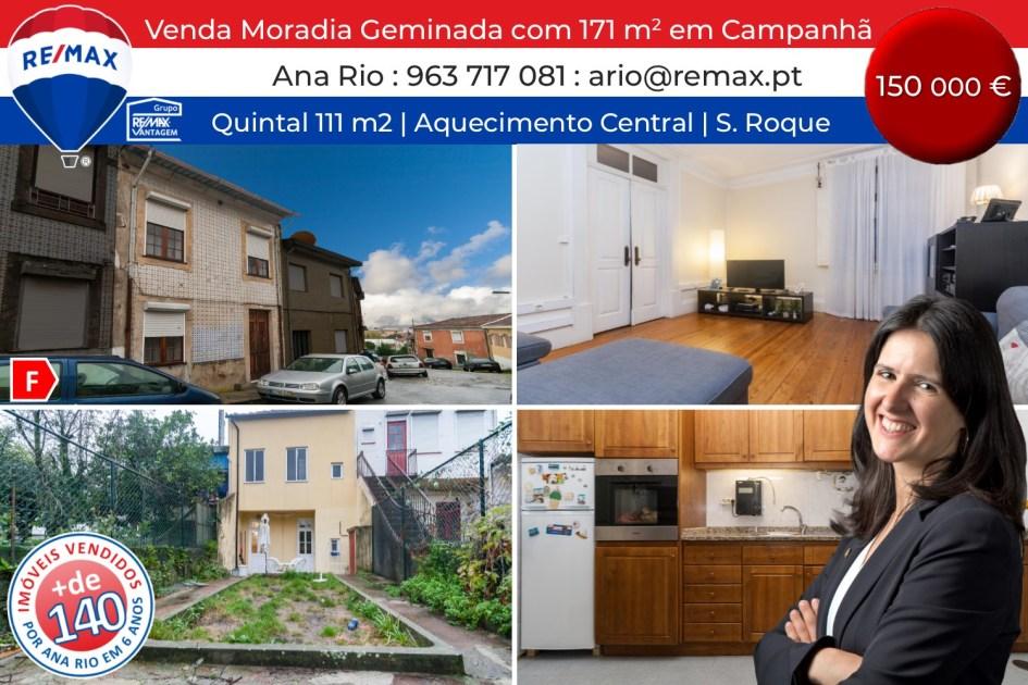 VENDA - Moradia Geminada com 171 m2 e Quintal em Campanhã