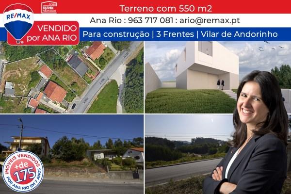 VENDIDO – Terreno com 550 m2 em Vilar de Andorinho