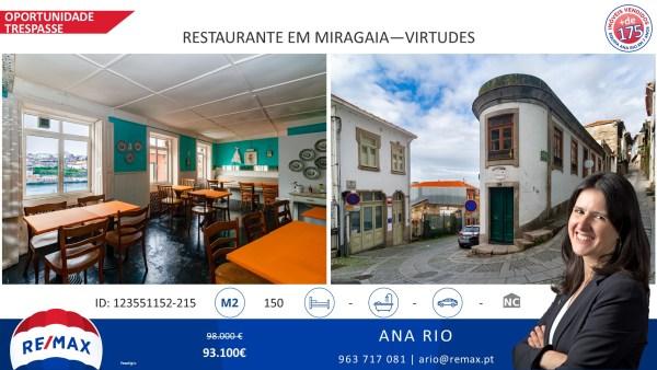 Oportunidade - Trespasse de Restaurante em Miragaia - Virtudes