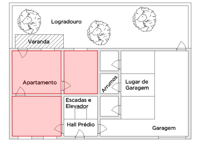 Ilustração de exemplo de área útil