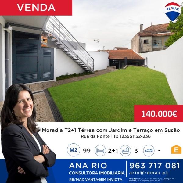 Moradia T2+1 Térrea com Terraço e Jardim em Susão