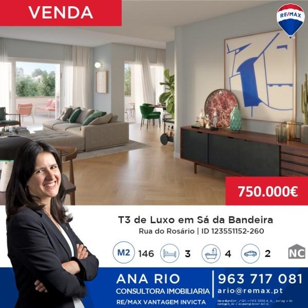 Apartamento T3 de Luxo em Sá da Bandeira