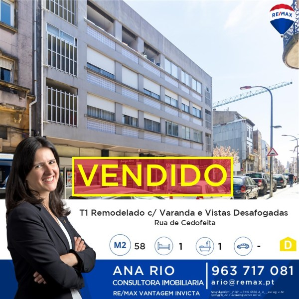 ID274 Vendido! T1 Remodelado com Varanda na Rua de Cedofeita