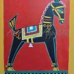Black Horse By Jamini Roy Recreated Canvas Painting Artsy Appetite