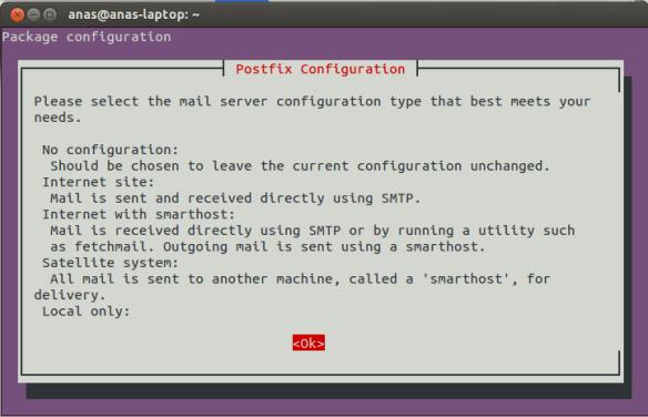 Postfix Configuration Screen 1