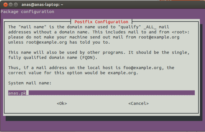 Postfix Configuration Screen 3
