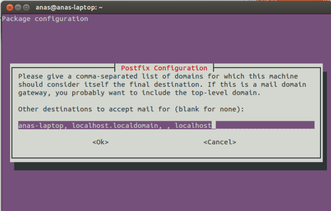 Postfix Configuration Screen 5