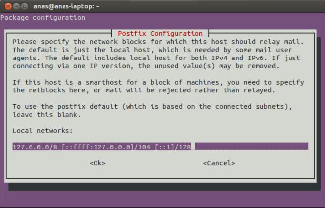 Postfix Configuration Screen 7