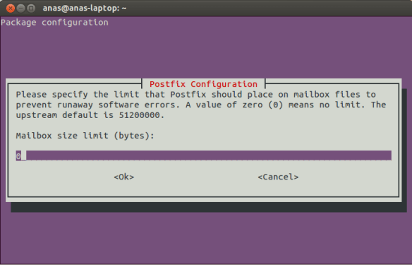 Postfix Configuration Screen 8