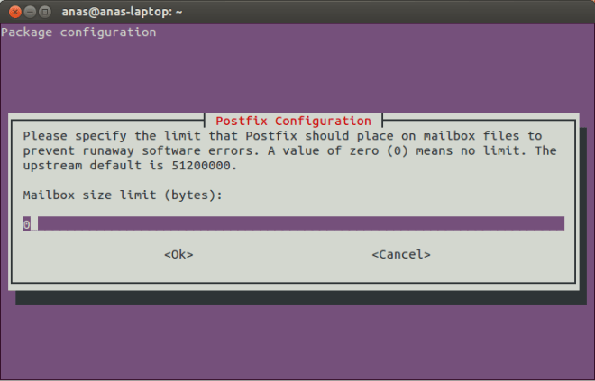 Postfix Configuration Screen 8