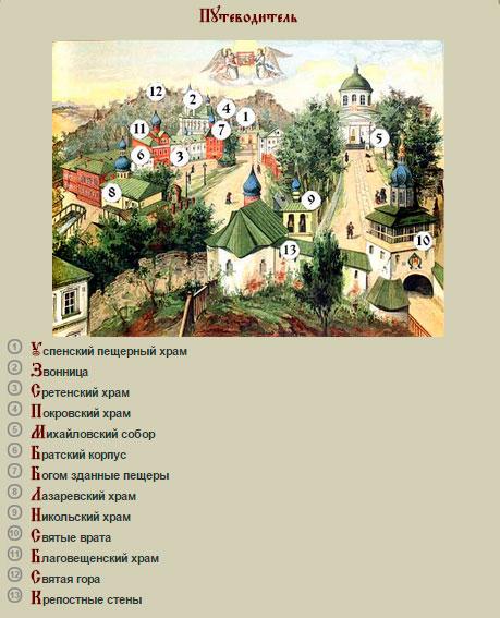 План Псково-Печерского монастыря