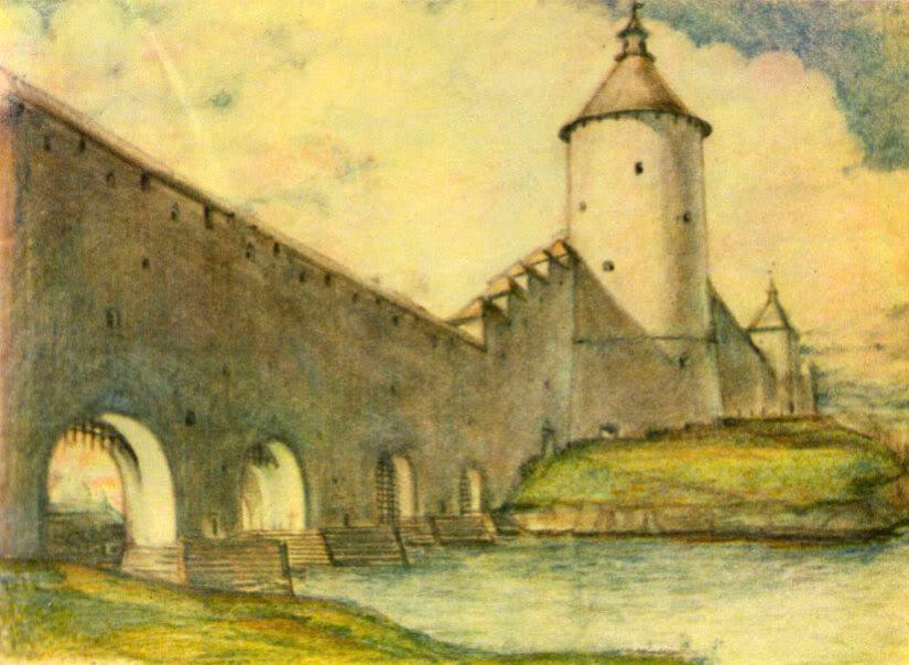 Гремячая (Космодемьянская) башня в Пскове