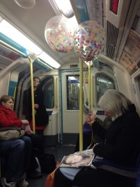 Birthday balloons going home...