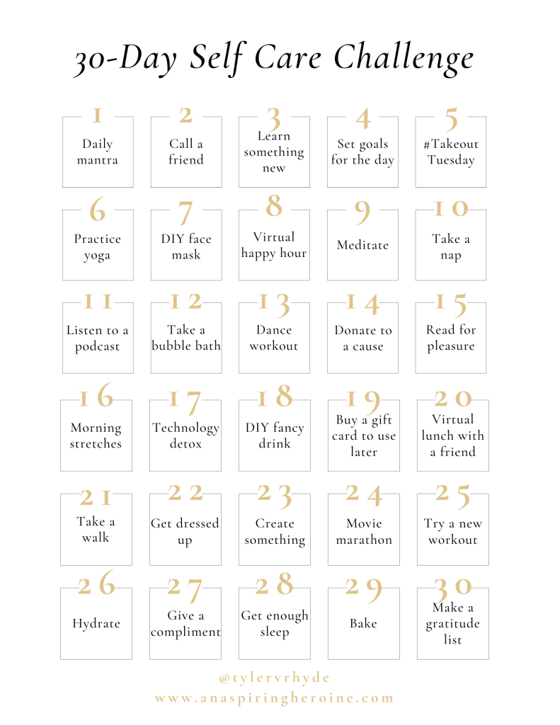 Ready for a 30-day self care challenge to benefit your mental health, physical fitness, and overall well-being? It's time to take time for yourself!   An Aspiring Heroine