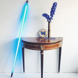 blue lamp and antiques