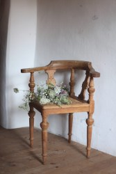 rustic antique chair and a wild flower bouquet