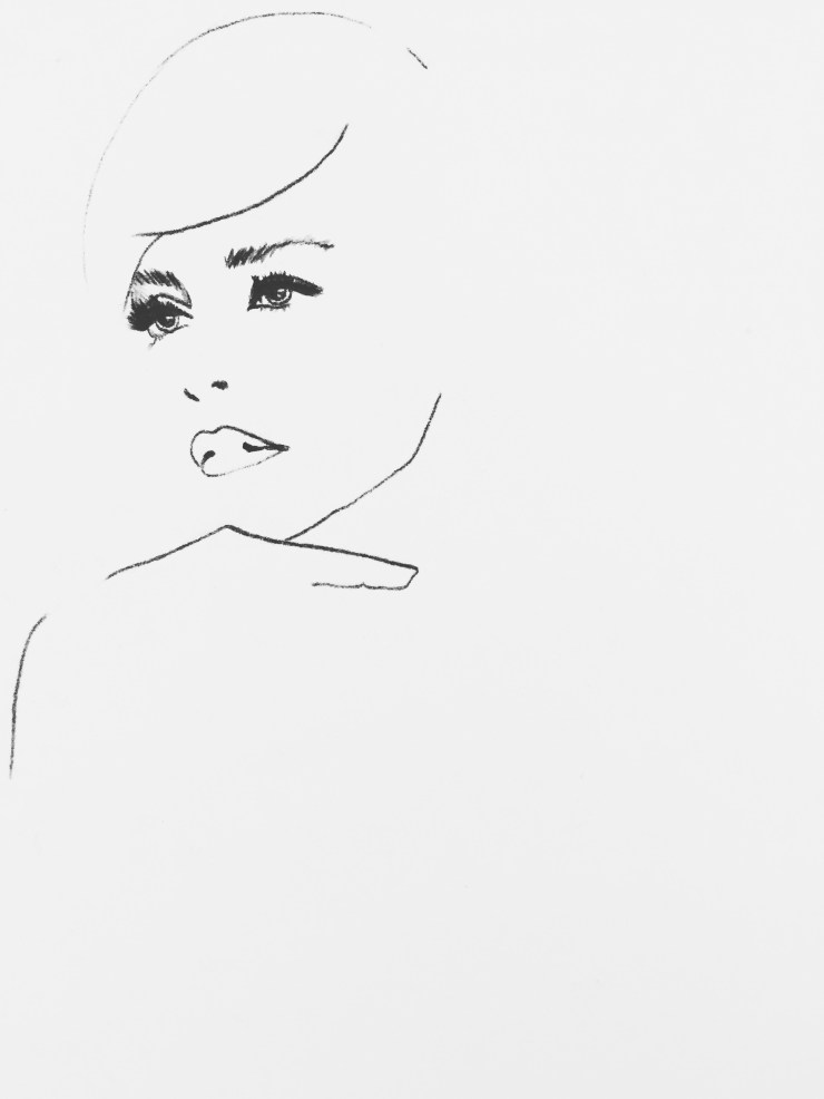 art, chalk on canvas, fashion illustration, illustration, fashion, drawing, Sharon Stone