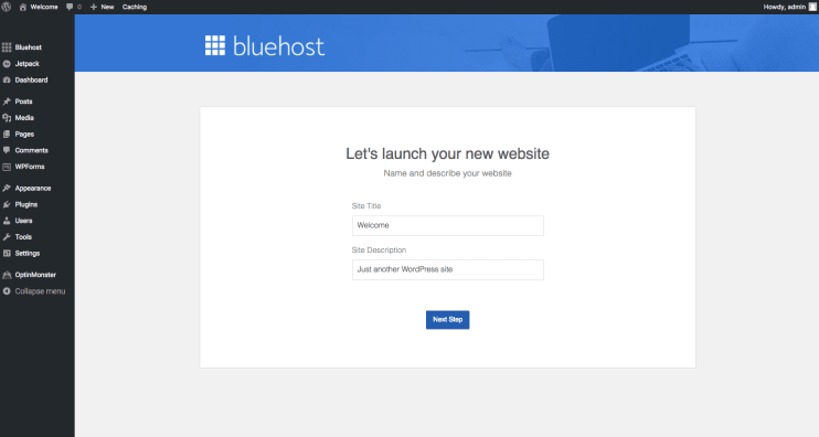 Bluehost - setting up site title and description
