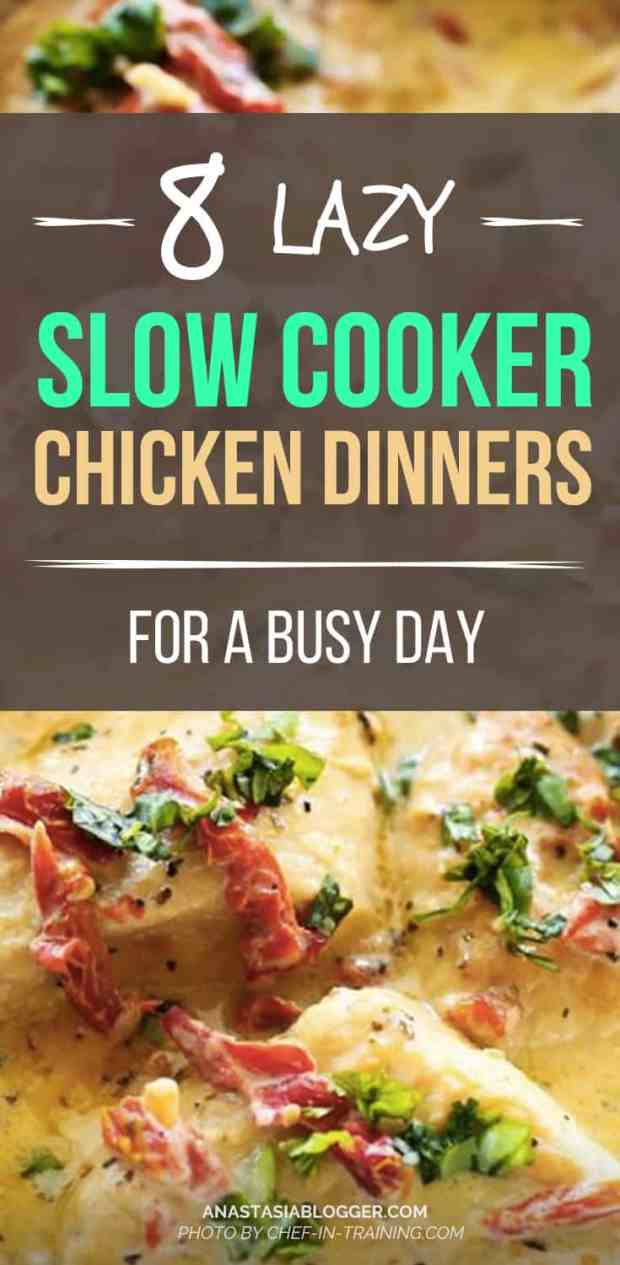 8 easy crockpot slow cooker recipes for a healthy dinner on a busy day. Check these whole chicken slow cooker recipes with honey and dumplings, tacos, Parmesan, farjitas, crockpot chicken soup.