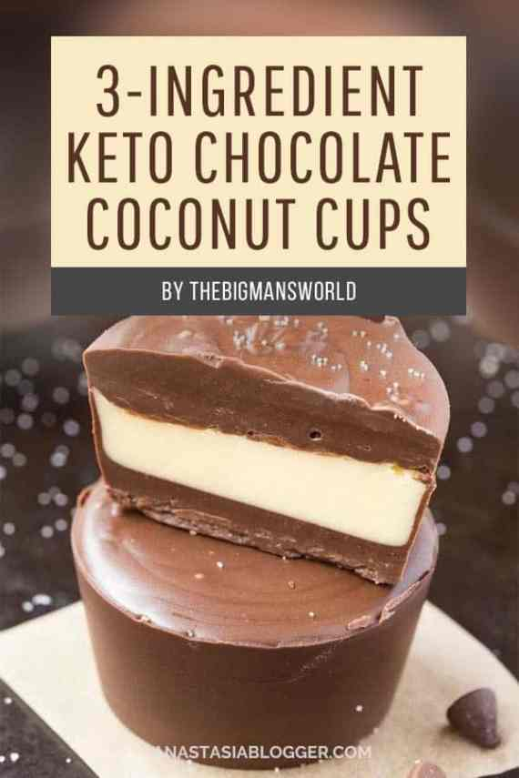 3-Ingredient Keto Chocolate Coconut Cups. Save these 9 Easy Keto Dessert Recipes – keep your Ketogenic Diet guilt-free and indulge your sweet tooth self! These healthy Keto Desserts are quick to cook, some are no-bake, but all are low carb and will never break your ketosis. Keto Fat Bombs, chocolate, cream cheese, cheesecakes and other pleasures all Keto-friendly! #keto #ketogenic #ketodiet