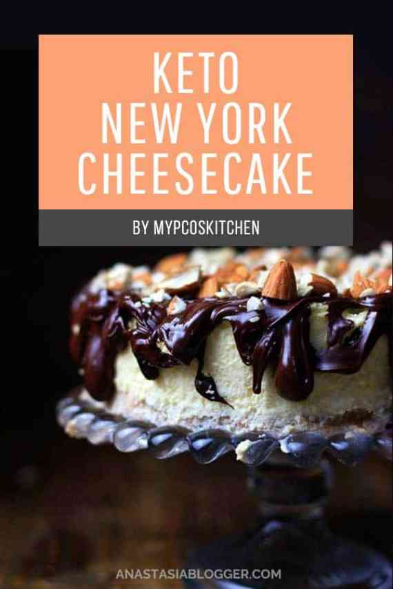 Keto New York Cheesecake. Save these 9 Easy Keto Dessert Recipes – keep your Ketogenic Diet guilt-free and indulge your sweet tooth self! These healthy Keto Desserts are quick to cook, some are no-bake, but all are low carb and will never break your ketosis. Keto Fat Bombs, chocolate, cream cheese, cheesecakes and other pleasures all Keto-friendly! #keto #ketogenic #ketodiet