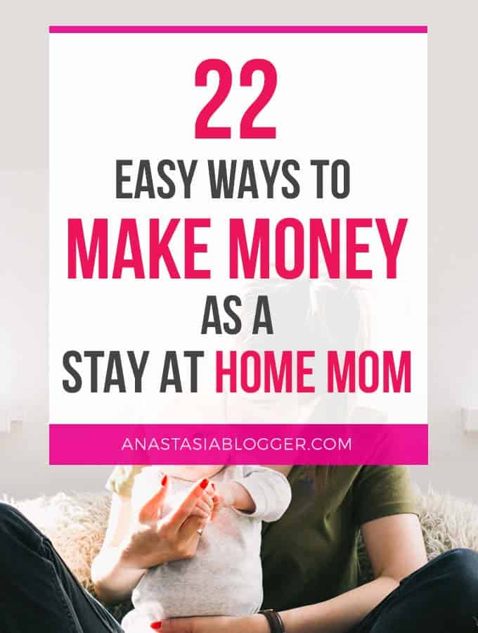 22 Ways to make money at home for stay at home moms in 2018. Creative ways to make money for extra cash or even as a full-time income with online jobs. Learn how to make money fast, make money from home and on the side while raising your kids or working part-time. Ways to make money online. Learn how to make money on Pinterest and make money blogging, and many other ways.