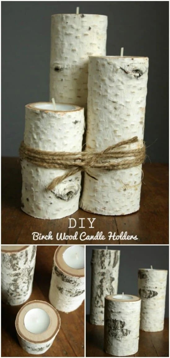 DIY Birchwood Candle Holders - DIY farmhouse decor ideas are very trendy these days if you watch some home renovation TV shows you probably know that it's in high demand now. Check this farmhouse decor on a budget for the living room, bedroom, country kitchen, bathroom and other parts of your rustic home.
