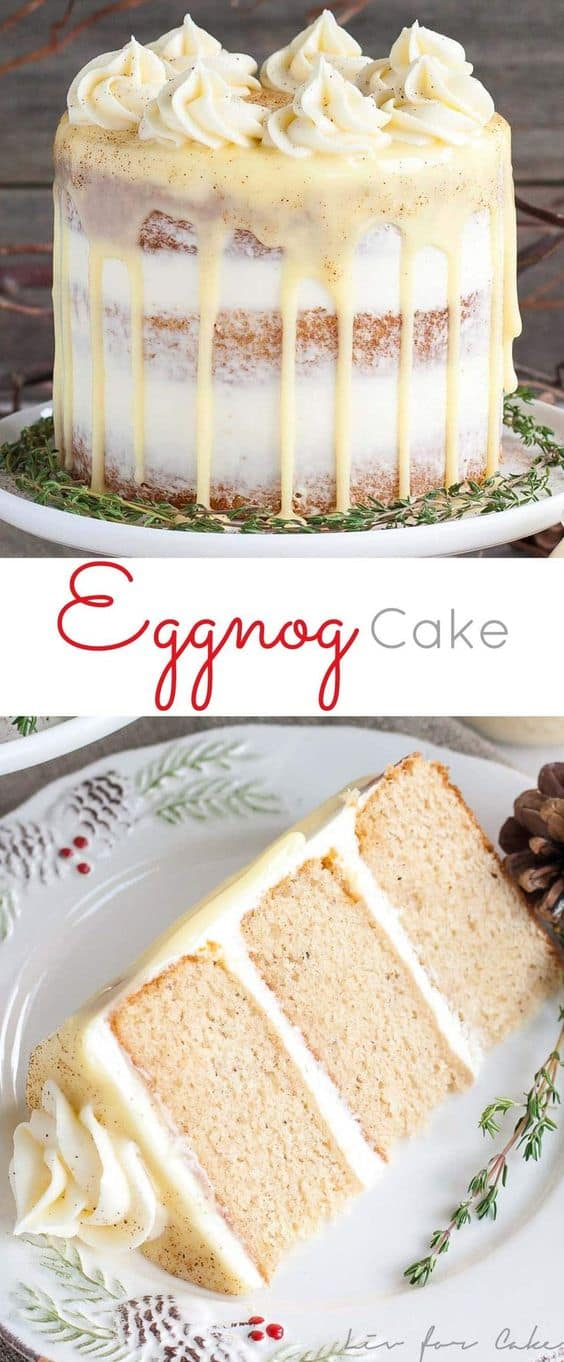 Spiked Eggnog Cake - Best Christmas Desserts - Recipes and Christmas Treats to Try this Year! Try these amazing and cute easy Christmas dessert recipes to have a great party for your kids, friends, and family! Cupcakes, cakes, sweet bites, pies, brownies, home-made Christmas popcorn, Christmas cookies and other delights. #christmas #dessertfoodrecipes #xmas #recipes #food #christmasfood