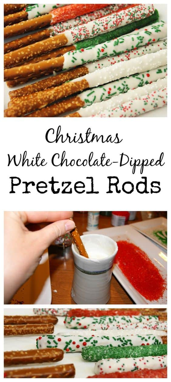 Christmas Whtie Chocolate-Dipped Pretzel Rods  Best Christmas Desserts - Recipes and Christmas Treats to Try this Year! Try these amazing and cute easy Christmas dessert recipes to have a great party for your kids, friends, and family! Cupcakes, cakes, sweet bites, pies, brownies, home-made Christmas popcorn, Christmas cookies and other delights. #christmas #dessertfoodrecipes #xmas #recipes #food #christmasfood