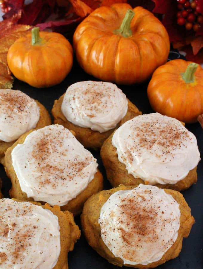 Pumpkin Spice Cookies with Cinnamon Cream Cheese Frosting - Best Christmas Desserts - Recipes and Christmas Treats to Try this Year! Try these amazing and cute easy Christmas dessert recipes to have a great party for your kids, friends, and family! Cupcakes, cakes, sweet bites, pies, brownies, home-made Christmas popcorn, Christmas cookies and other delights. #christmas #dessertfoodrecipes #xmas #recipes #food #christmasfood