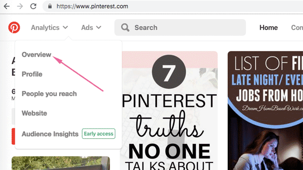 How do I find Pinterest analytics?