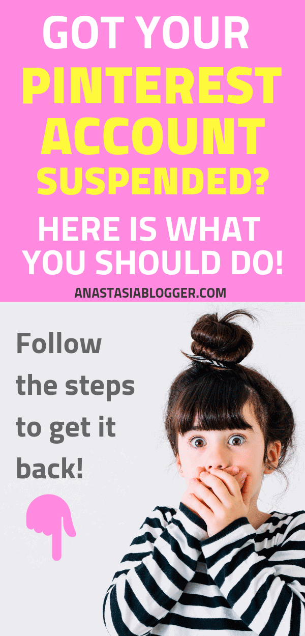 Pinterest Account Suspended For Spam? How to Reactivate Pinterest Account. Is your Pinterest account suspended for spam or for no reason at all? Unfortunately, this happens. Here is what you should do to reactivate your account and to prevent future problems on Pinterest. Pinterest marketing tips #pinterest #pinterestmarketing #pinteresttips #socialmedia #socialmediamarketing #socialmediatips #blogging #blogger