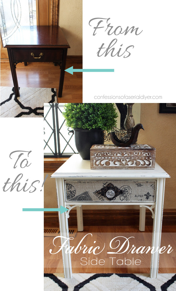 http://www.confessionsofaserialdiyer.com/updated-side-table-with-fabric-drawer/