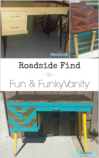 A roadside mid-century desk made over with a new herringbone planked top and chevron details | Furniture makeover by Anastasia Vintage