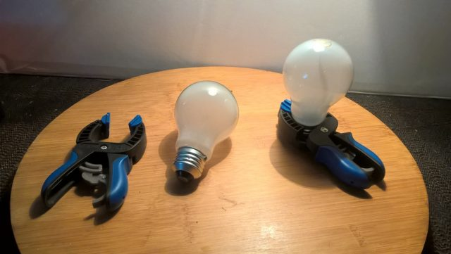 lightbulbs in clamps
