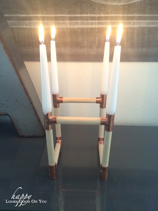 Holder for Copper and Wood Candle Holder