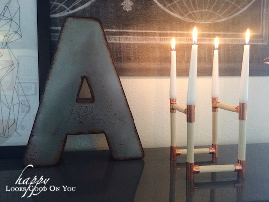 Letter A on Copper and Wood Candle Holder